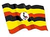 wehende Flagge von Uganda