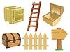 Set von Gegenständen aus Holz