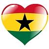 Herz mit Flagge von Ghana