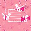 rosa Grußkarte mit Vögeln