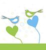 Влюбленные птички | Векторный клипарт