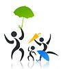 Familie mit einem Regenschirm