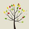 Векторный клипарт дерево птицы