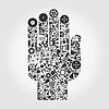 Hand von Wissenschafts-Icons