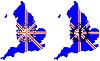 Olympische Symbole vor Großbritannien Karte