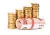 ID 3275417 | Rubli rosyjskich banknotów i monet nad białym | Foto stockowe wysokiej rozdzielczości | KLIPARTO
