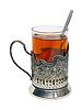 Filiżanka herbaty z cytryną w uchwyt   Stock Foto