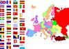 Landkarte von Europa mit Länderflaggen