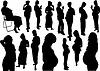 15 sylwetek kobiet w ciąży | Stock Vector Graphics