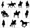 Silhouetten der Reiter