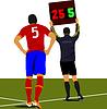Football-Spieler warteе auf Feld und Schiedsrichte