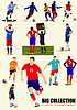 Big collection of football (soccer) players | Stock Vector Graphics