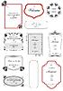 Sammlung von Bildern und Ornamenten mit Beispieltext.
