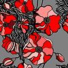 Rote Mohnblumen auf grauem Hintergrund. Nahtlose Muster