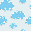 Blue Clouds with White Border. Seamless pattern | 向量插图