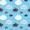 Nahtloses Muster mit blauen Wolken | Stock Vektrografik