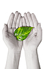 Zielony liść w ręce ludzi | Stock Foto