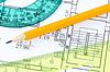 Lineals i ołówek na plan architektoniczny | Stock Foto