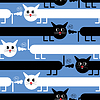 Verrückte Katzen auf blauem Hintergrund - nahtloses Muster