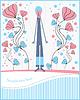 Postkarte mit Jungen und Blumen