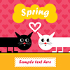 Karte mit bunten Katzen in der Liebe