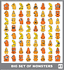 Großes Set von bunten Monstern