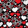 Nahtloses Muster mit roten und weißen Herzen