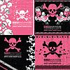 Set von vier abstrakten Schädel grunge Hintergründe Design