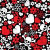 Roter Schädel in Blumen und Herzen - nahtloses Muster