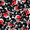 skulls on black background - seamless pattern