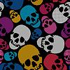 Bunte Schädel auf schwarzem Hintergrund - nahtloses Muster