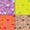Set von vier Herzen mit Getriebe - nahtlose Muster