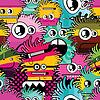Nahtloser Hintergrund mit Monstern | Stock Vektrografik