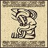 Aztekisches Piktogramm als Gesicht