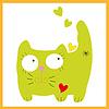 grüne Katze sitzt mit Herzen