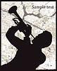 Векторный клипарт: Силуэт человека с трубой на фоне гранж