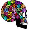 Menschlicher Schädel aus Blumen
