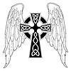 Векторный клипарт: Черный крест с крыльями