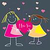 Valentine karty z pozdrowieniami z cute małe dzieci | Stock Vector Graphics