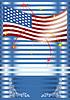 Amerikanische Fahne mit Feuerwerk