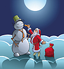 산타와 눈사람 | Stock Vector Graphics
