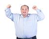 Glückliche Fat Man in Blue Shirt | Stock Photo
