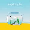 Аквариум на море, в песке | Векторный клипарт