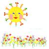 Солнце и цветы | Векторный клипарт