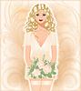 Сексуальная красивая девушка в свадебном платье | Векторный клипарт
