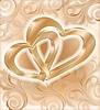 Два золотых сердца, свадебная открытка | Векторный клипарт