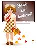 Zurück in der Schule. Junges Mädchen mit Herbst Blätter