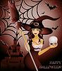 Открытка на Хэллоуин - сексуальная ведьма и череп | Векторный клипарт