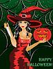 Happy Halloween. Schöne Hexe mit einem Messer