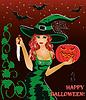 Happy Halloween-Karte. Redhead-Hexe mit einem Messer
